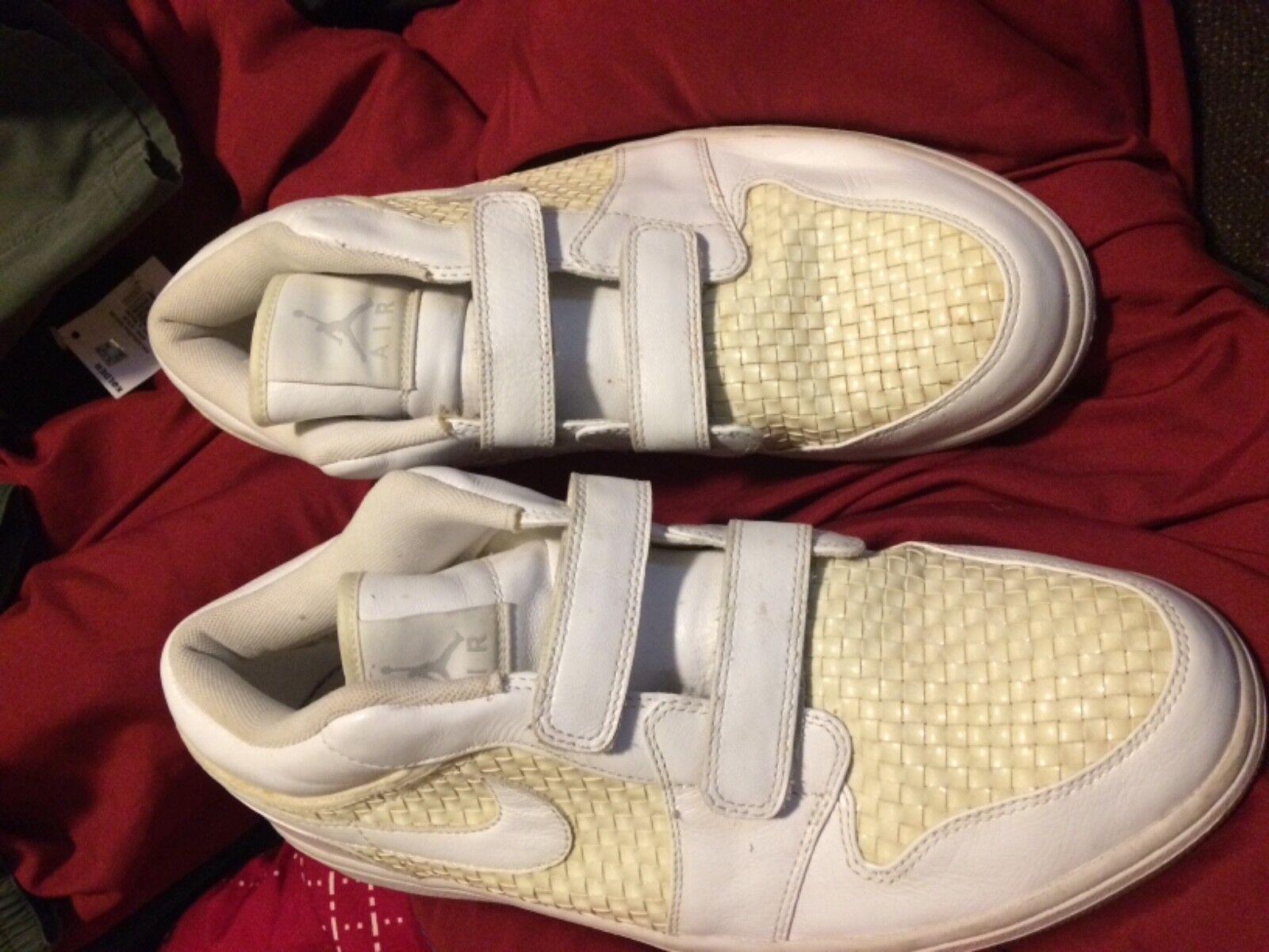 White nike air jordans mens Velcro straps