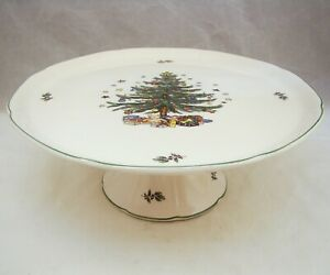 Nikko-HAPPY-HOLIDAYS-Footed-Cake-Stand-10-7-8-034-x-4-1-8-034-EXCELLENT