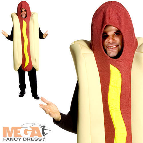 Giant Deluxe Hot Dog Adults Fancy Dress Fun Food Frankfurter Mens Ladies Costume