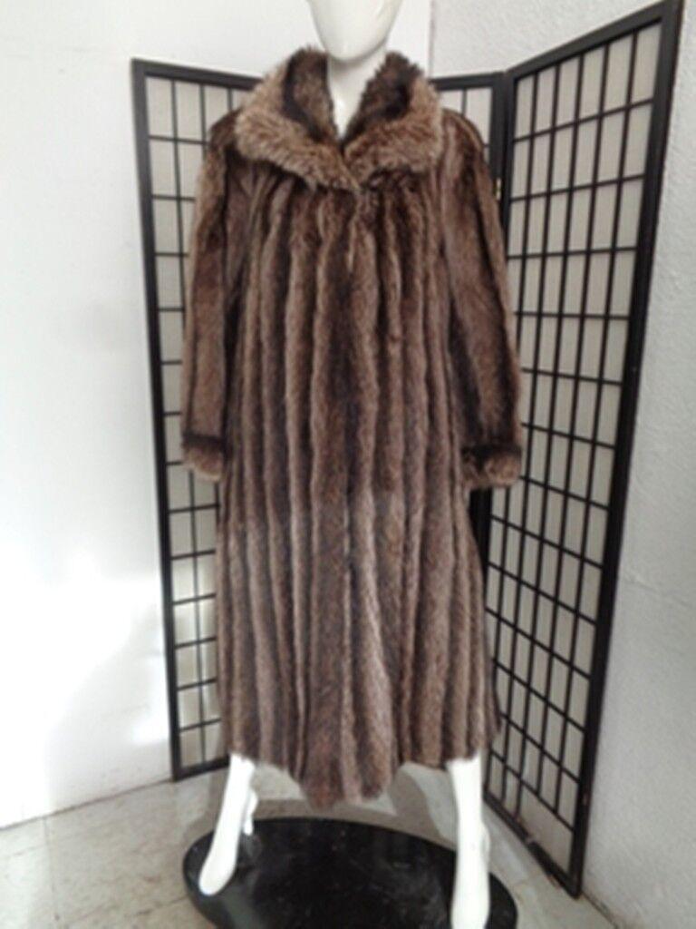 Excelente Abrigo Chaqueta de piel de  mapache Natural Mujeres Mujer Talla 8 Mediana  conveniente