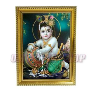 Details about Bal Krishna in Photo Frame Lord Krishna Baby Krishna God  Krishna Yashoda Maa