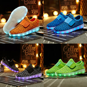 Lightweight-Kids-USB-Rechargeable-LED-Shoes-Breathable-Weave-Sneakers-Neon-Shoes