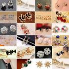 Fashion Elegant Women Crystal Rhinestone Flower Heart Ear Stud Earrings Jewelry