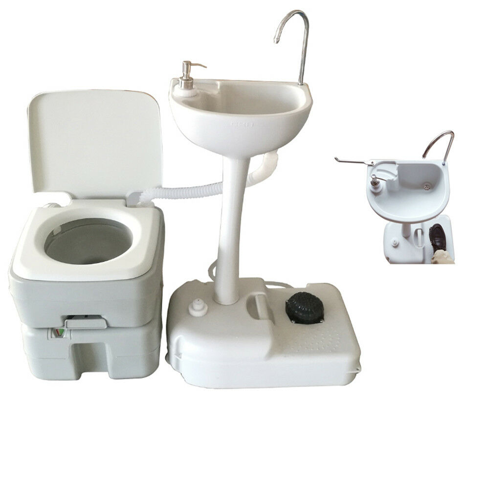 5 Gallon Portable Toilet Flush Travel Outdoor Camping Toilet Potty+Wash Basin US