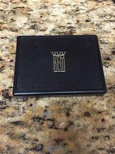 vtg Double Deck Kem Card case, w/ 1 Deck of cards Green, Tapestry?