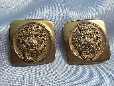 INCREDIBLE Vintage ULTRA CHUNKY Gold LION Knocker Square CLIP Earrings 13EE85