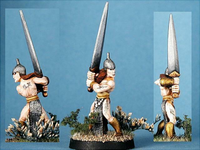 Celtos målade miniatyr Man Fighter med Greatsword