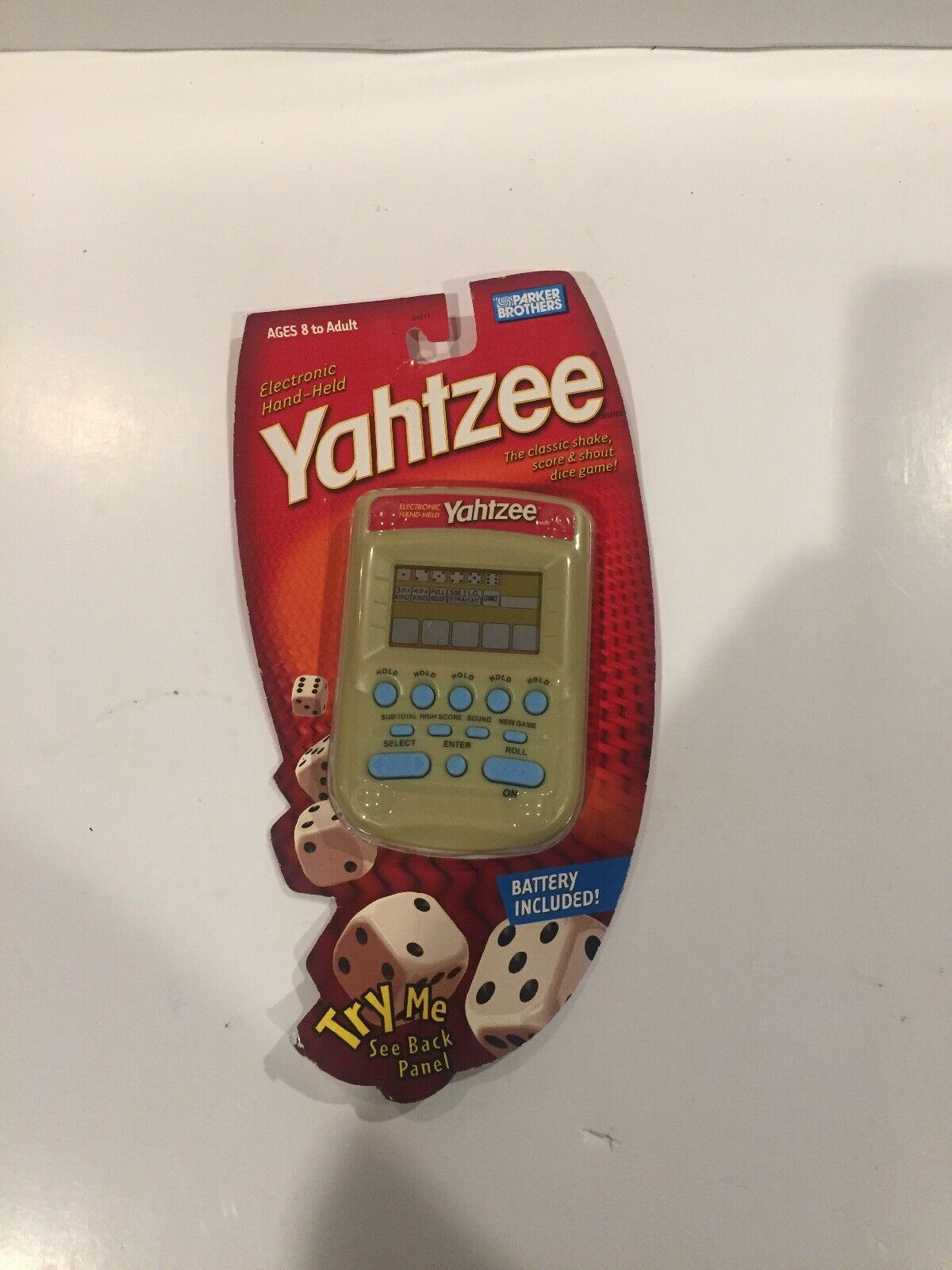 NEW Yahtzee Handheld Electronic Game Hasbro (2004) gold Cream bluee Button Rare