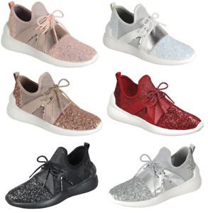 Women-Sequin-Glitter-Athletic-Joggers-Lace-Up-Fashion-Shoes-Comfort-Gym-Sneakers