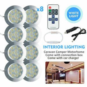 8X-12V-Spot-LED-interior-luces-caravanas-Caravan-Control-Remoto-Interruptor-Regulador