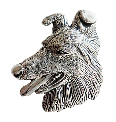 Handmade Border Collie Pin Badge in Fine English Pewter