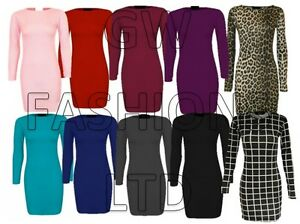 WOMEN-039-S-LADIES-GIRLS-LONG-SLEEVE-MIDI-DRESS-STRETCH-BODYCON-PLAIN-JERSEY-XXXL