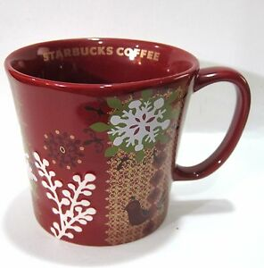 Starbucks-Coffee-Red-Embossed-Christmas-Snowflake-Ceramic-Mug-12-oz