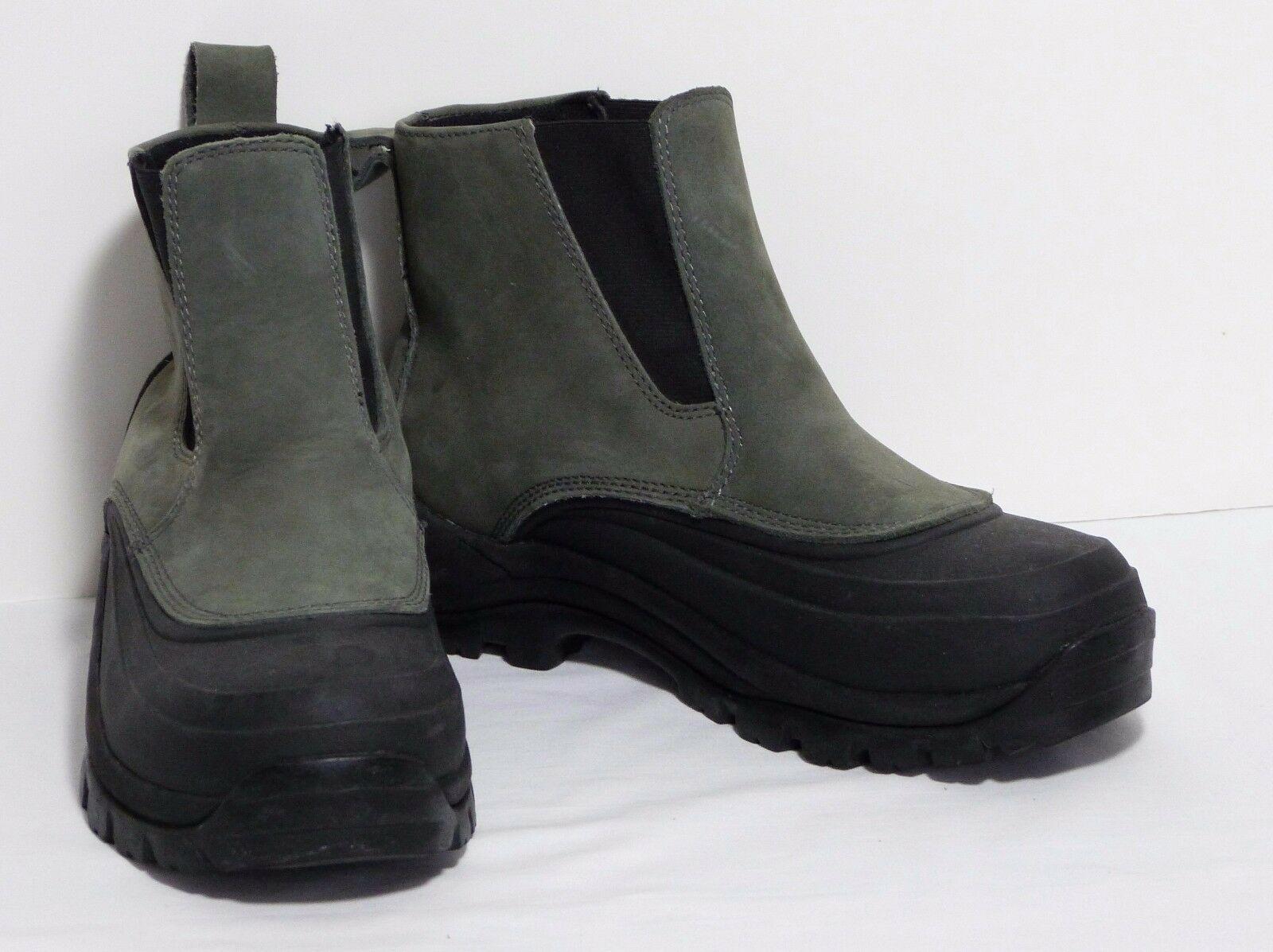 Lands End Waterproof Snow Boots Women's Black Rubber w/Green Suede Women's Boots 7 US VGC 77cdc2