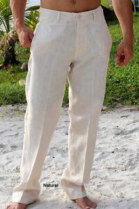 Mens-Bohio-100-Linen-Natural-Flat-Front-Casual-Dress-Pants-32-44-MLP50