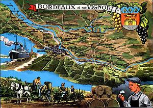 BORDEAUX-Carte-Postale-Vignoble-Weinbau-Wein-Region-Umgebungskarte-Postkarte