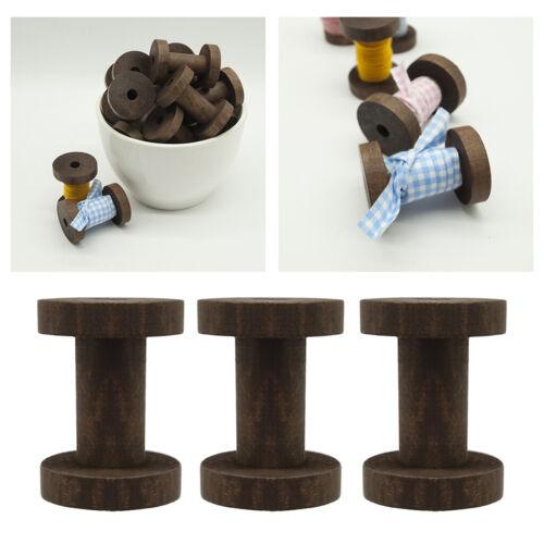 3 Pack Holz Spulen Rollen Garnspule Holz Spule Deko Spule Nähmaschinenspulen