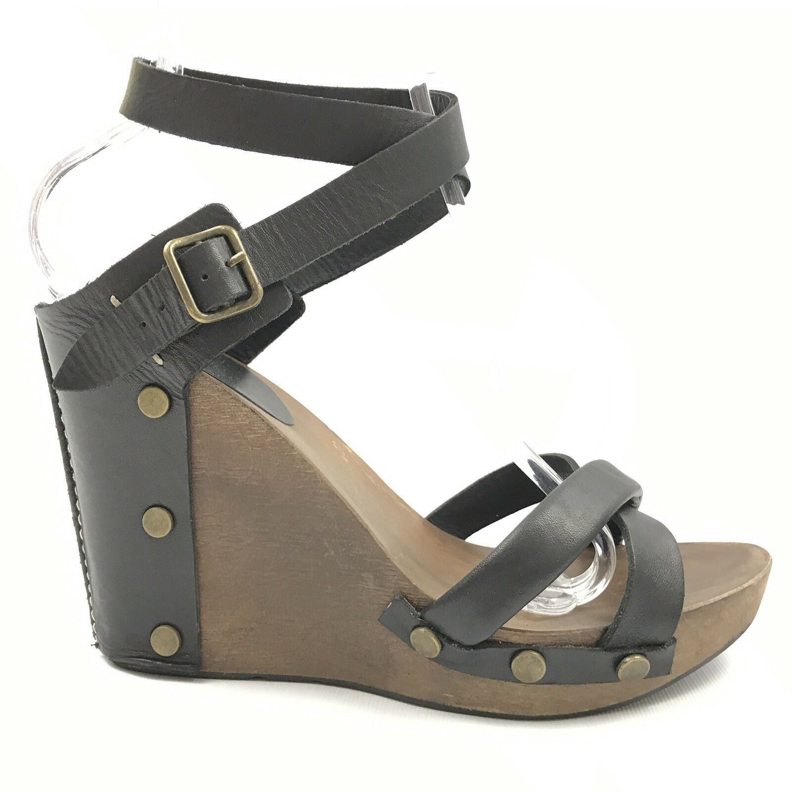 See By Chloe Sandals 40 10 Wedges Black Leather Open Toe Strap Ankle Buckle High
