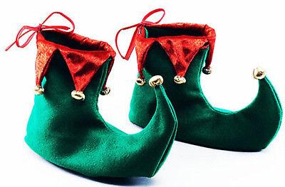 Adulto Elfo Verde Rojo Bufón Pixie Botas Zapatos Navidad Navidad Fancy Dress Costume