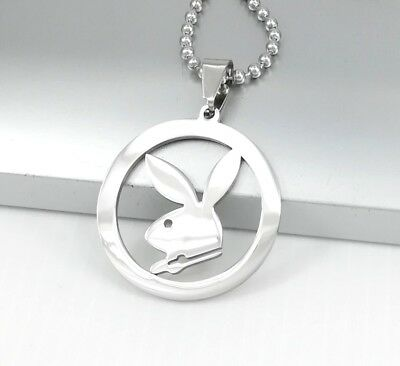 """Silver Playboy Bunny Rabbit Stainless Steel Pendant 24/"""" 61cm Ball Chain Necklace"""