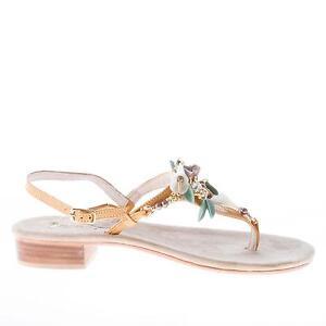 MASTRODOMENICO scarpe donna shoes Sandalo infradito Positano senape e gioiello