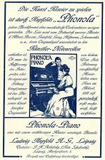 Ludwig Hupfeld Leipzig PHONOLA-PIANO Historische Reklame von 1908
