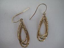 9ct oro giallo 3 tier pendente taglio diamante orecchini dondolanti