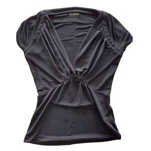 Carla-Zampatti-Size-6-Black-Short-Sleeve-Fitted-V-Neck-Stretch-Top-Womens