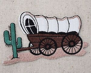 Covered wagon cactus pioneer western prairie iron on applique