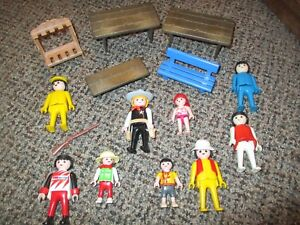 Vintage-Playmobil-Lot-Figures-Tables-Rifle-Children-Bench
