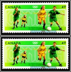 2x-CANADA-2004-CANADIAN-SUMMER-OLYMPIC-GAMES-SOCCER-FACE-98-CENT-MNH-STAMP-LOT