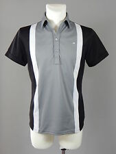 J Lindeberg Fieldsensor fabric black, grey and white men's polo t-shirt size S