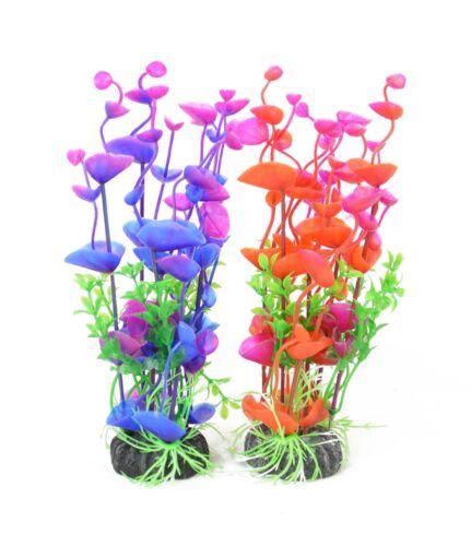 Aquarium Decor Fish Tank Decoration Artificial Plastic Plant Purple /& Red 8-inch