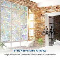 3d Static Privacy Door Window Film Stain Glass Anti Uv Home Office Decor 24x157