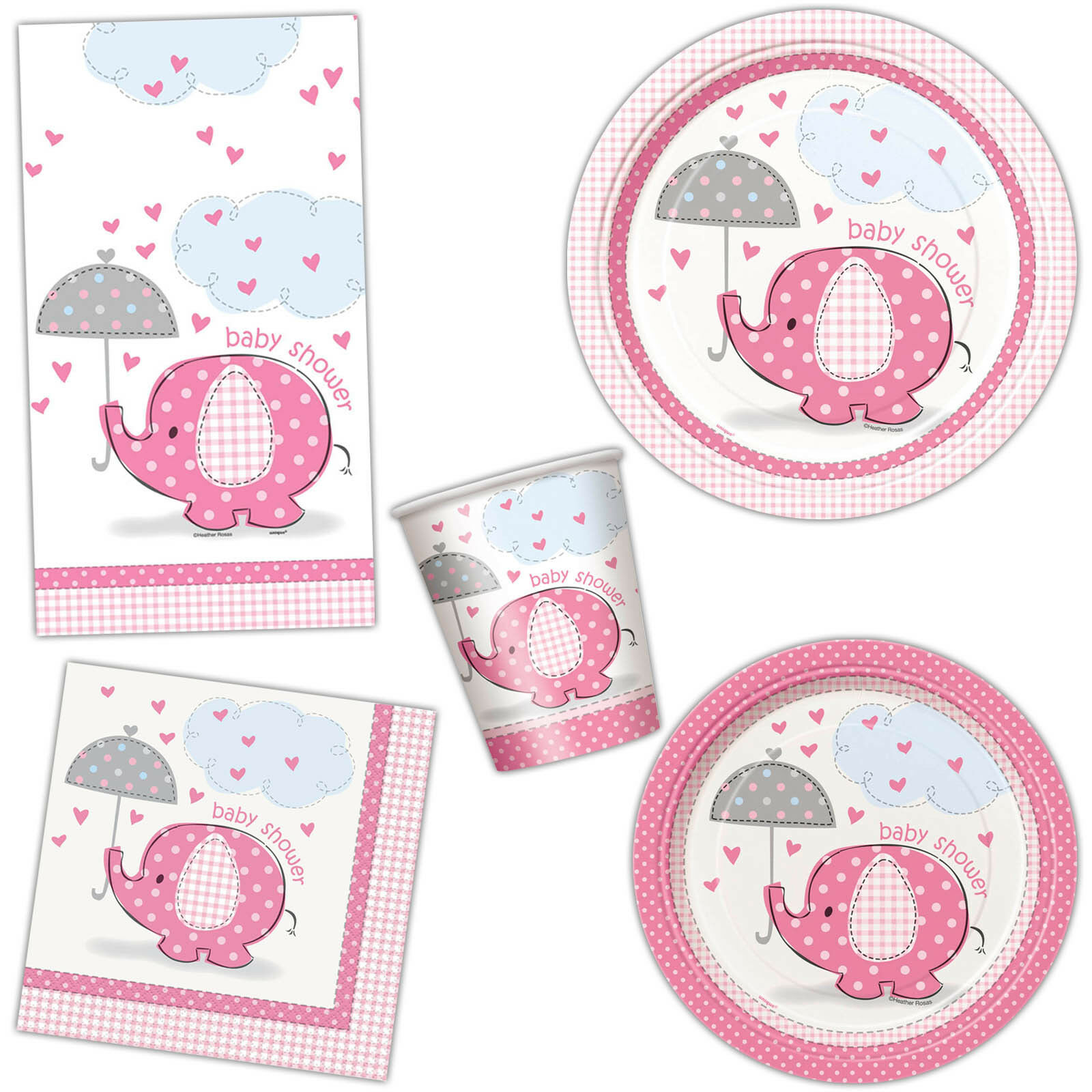 Baby Shower Plate: Girl's PINK ELEPHANT Baby Shower Party Plates Cups Napkins