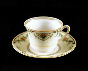 Vintage-Royal-Ivory-Cup-amp-Saucer-John-Maddock-amp-Sons-LTD-England-Ashby-China