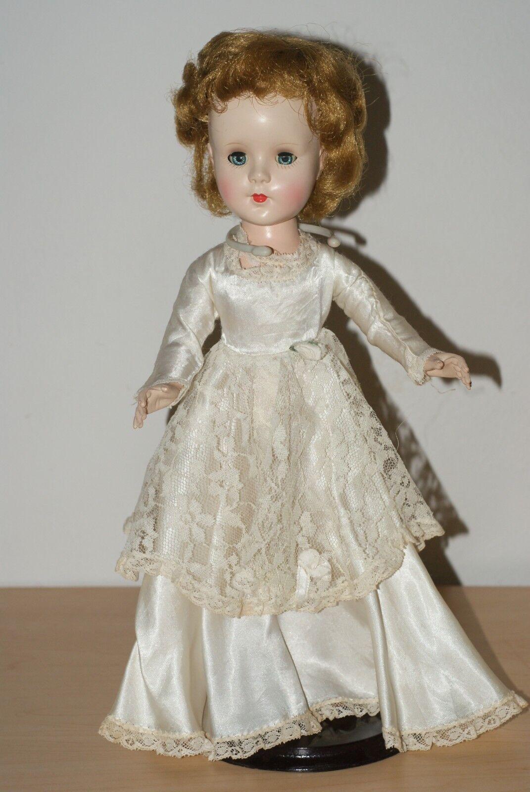 Pretty  Vintage 14  Dulce Sue Original Novia Vestido Vestido De Plástico Duro Muñeca De Walker