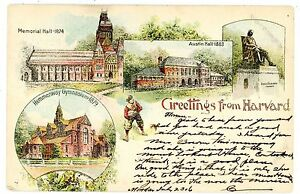 Cambridge Mass MA- HARVARD UNIVERSITY CAMPUS W/ FOOTBALL PLAYER-1906 Postcard
