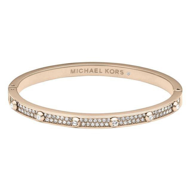 Michael Kors Heritage Rose Gold Tone Astor Hinge Pave Stud Bracelet Mkj3269