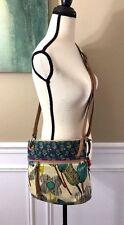 FOSSIL KEY-PER Floral Multicolor Coated Canvas Crossbody Swing Shoulder Bag