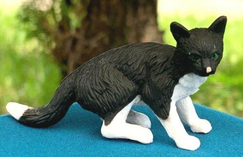 Dollhouse accessoire miniature noir et blanc poil Chat en Plastique PVC Figure