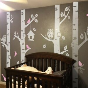 Owl bird birch tree wall decal vinyl kid nursery room for Bird and owl tree wall mural set