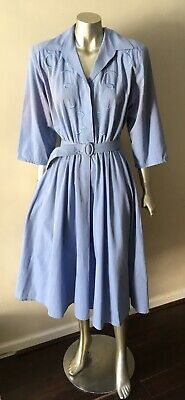 Vermont Country Store Embroidered Pale Blue Short Sleeve Chambray Dress