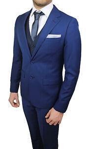 E Abito Gilet Giacca Cerimonia Completo Pantaloni Set Diamond Cravatta Blu Uomo xxzpw7Hq