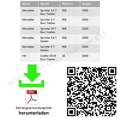 AHK /& ES7 MB Sprinter ab 2006 Bus Kasten Radstand = 3665 4325 mittel Tritt