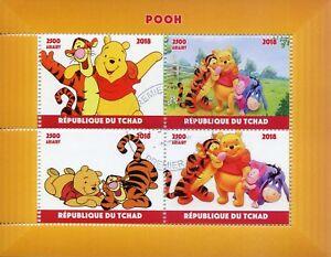 Chad-2018-CTO-Winnie-Pooh-Bear-Tigger-Eeyore-4v-m-s-Disney-Dibujos-Animados-sellos