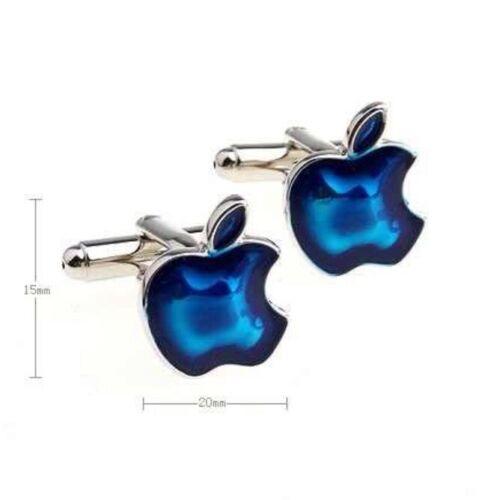 High Quality Cufflinks Blue Apple silver Colour Cuff links Iphone Ipad Logo 5 6