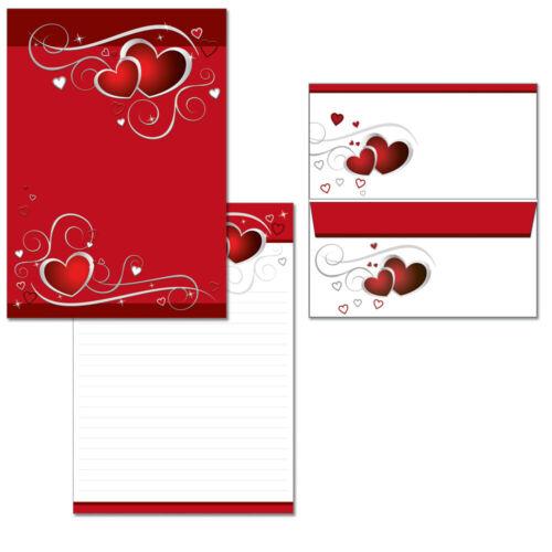 Schreibblock rote Herzen liniert A4 25 Blatt Briefpapier Liebe Love 10 Kuverts