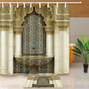 Moroccan Islamic Architectural Style Fabric Shower Curtain Set Bathroom 71Inch