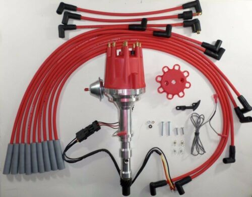 CADILLAC 472 500 1968-1974 Small Cap RED HEI Distributor /& 8mm Spark Plug Wires